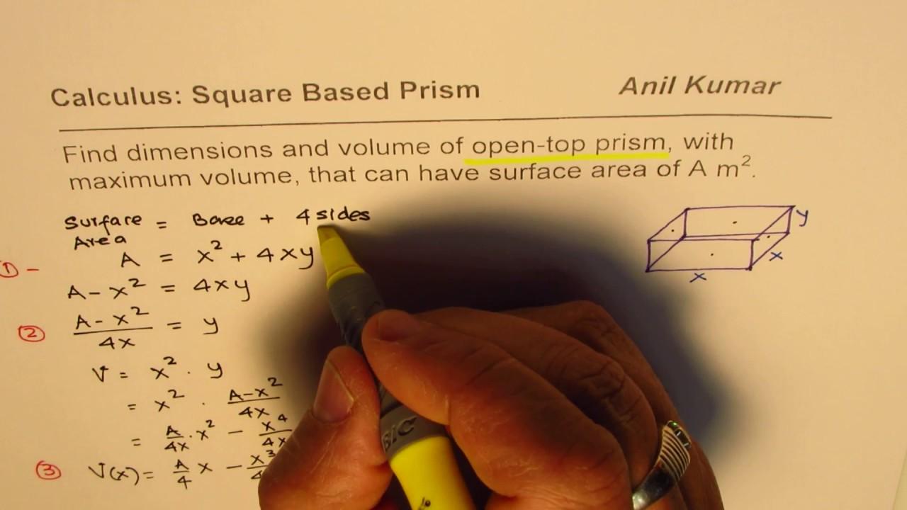 Formula maximum volume minimum surface area open top square base formula maximum volume minimum surface area open top square base prism ccuart Choice Image