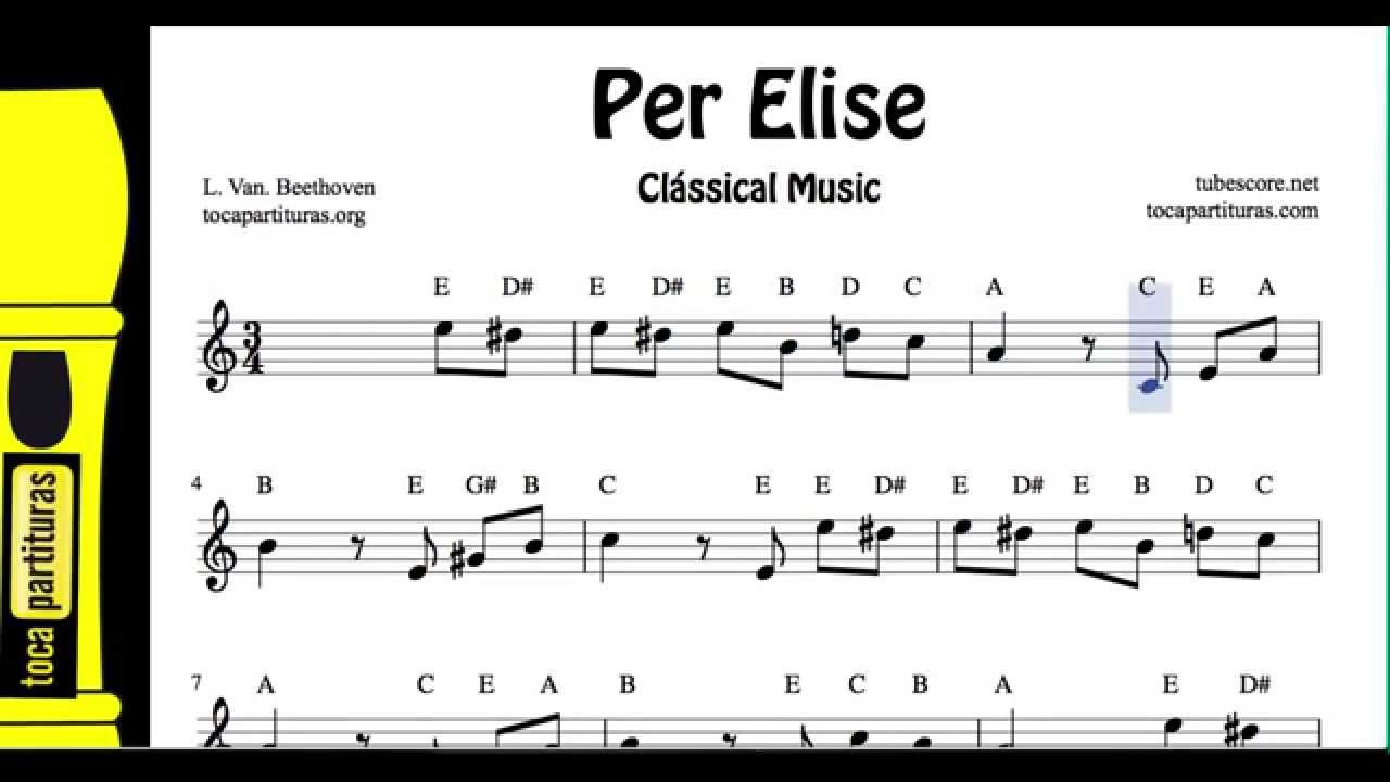 Per Elise notes Easy Sheet Music for jpg free download Music score for ...