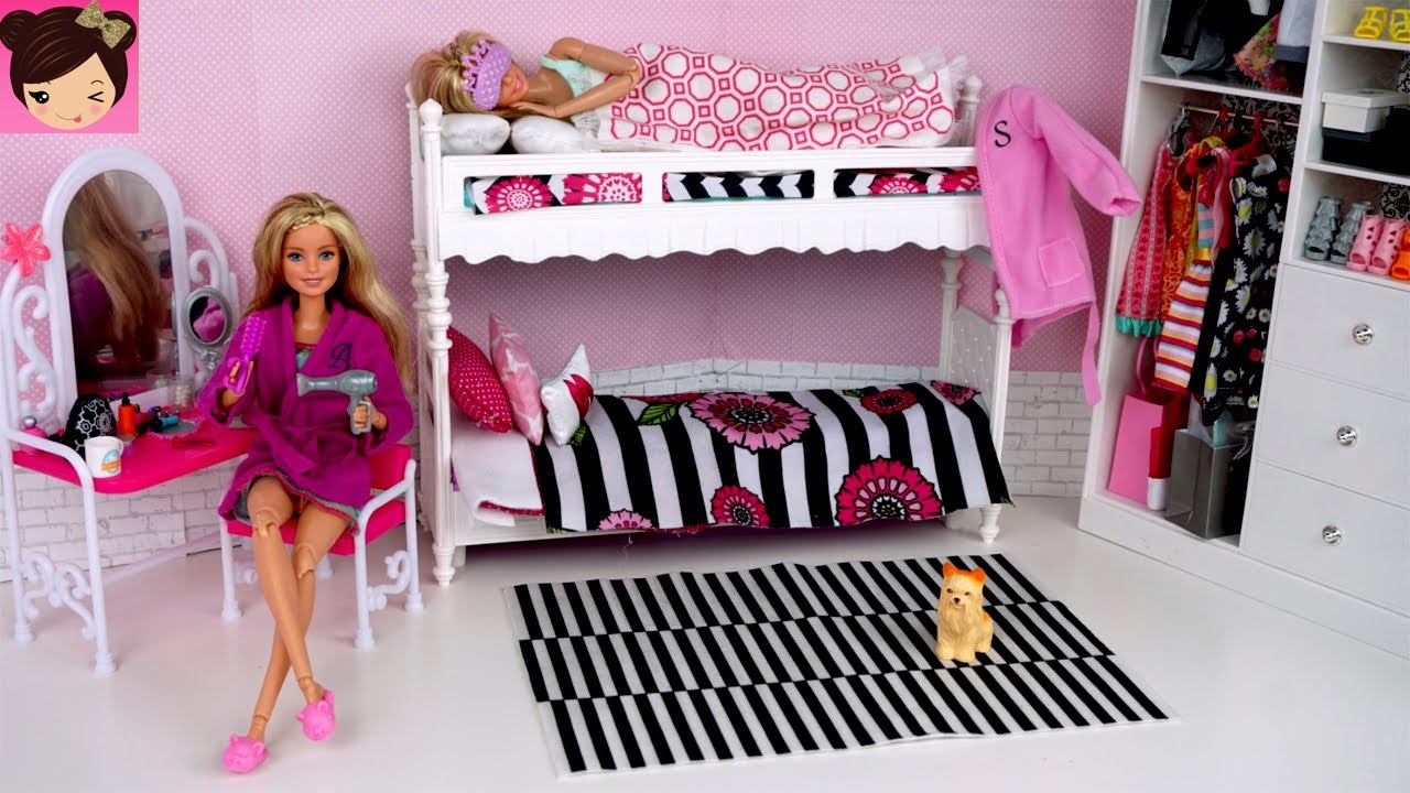 Barbie Twins Bunk Bed - Pink Bedroom Morning Routine with Wardrobe Toy