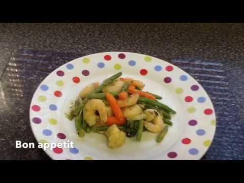 Les Crevettes Sauté avec Les Vegetables❤️❤️