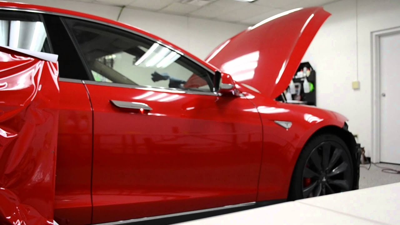 Car Wrap Vinyl >> Tesla Model S | Gloss Carmine Red Vinyl Wrap | Chicago Auto Pros - YouTube