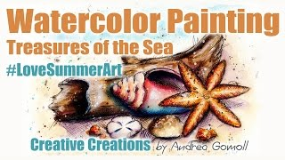 #LoveSummerArt - Watercolor Seashells Painting Tutorial
