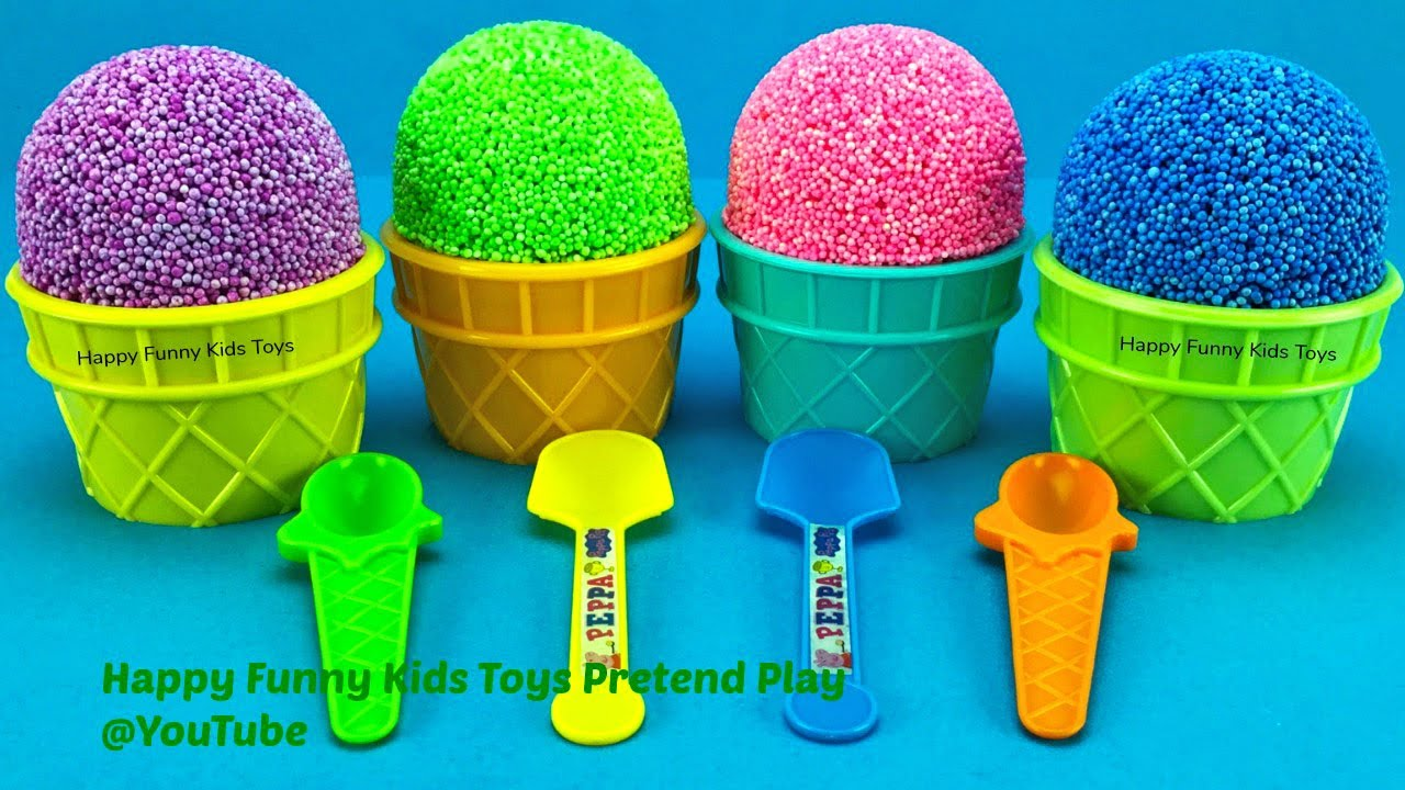 Play Foam Ice Cream Cups with Surprise Toys Kinder Joy Surprise Eggs My Little Pony