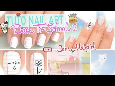 Tuto Nail art Facile (Sans Matériel Spécifique) ♡ Back To School 2