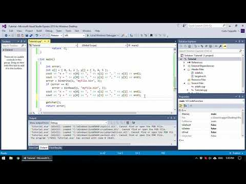 Writing and reading arrays to and from binary files with C++ (Visual Studio tutorial)