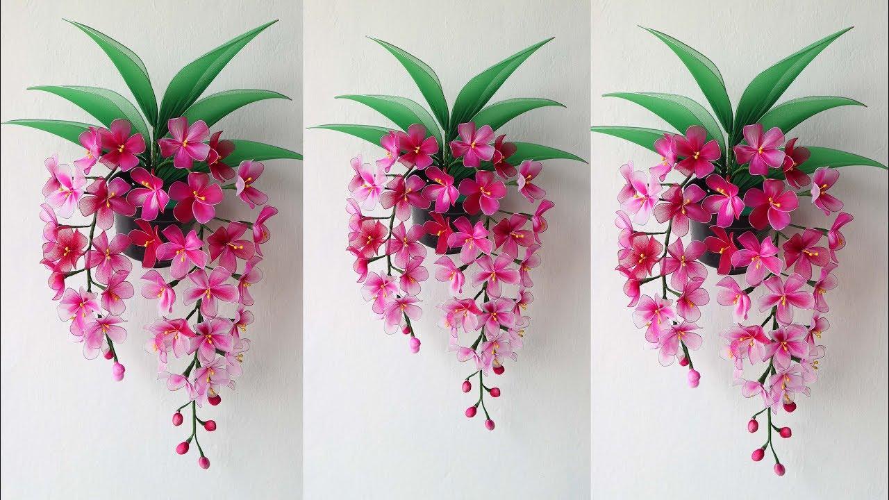 Cara Membuat Bunga Anggrek Stoking Gantung Hiasan Dinding How To Make Nylon Stocking Flower Youtube