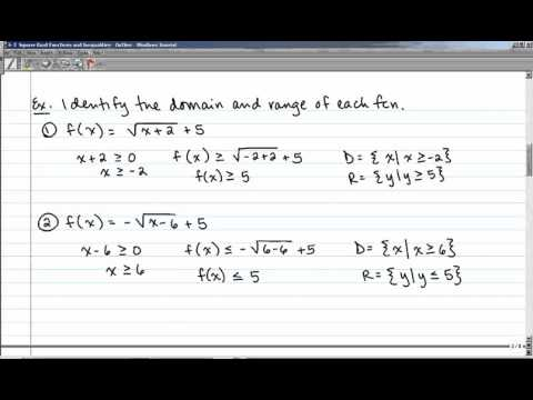6-3 Square Root Functions And Inequalities