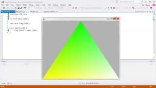 C# + OpenGL. Первый шейдер. Аттрибуты, юниформы. Треугольник крутится и мигает.