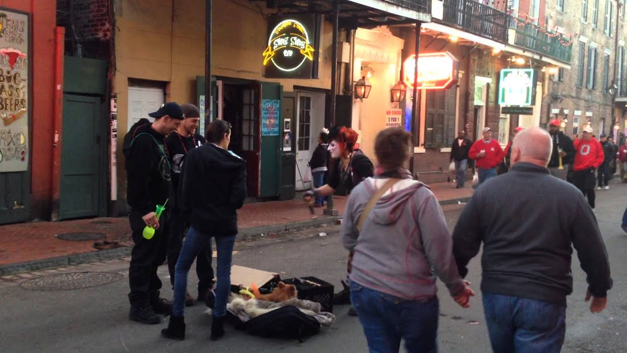 Sword Swallowing Girl Bourbon Street New Orleans New Years Eve