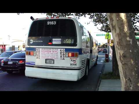 MTA NYC Bus: Nova-RTS B15 #9053 Orion VII CNG B35 #7604 & NF C40LF Q Bus Route Map on
