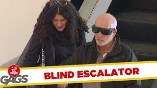Blind Man Escalator Fail