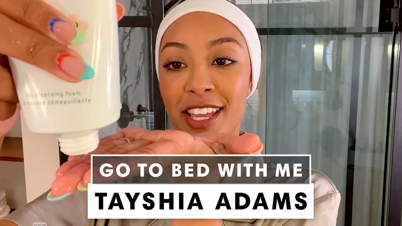 'Bachelorette' Tayshia Adams' Nighttime Skincare Routine | Go To Bed With Me | Harper's BAZAAR
