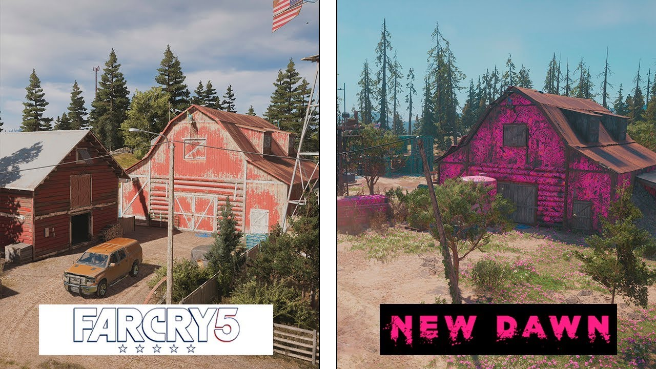 Far Cry New Dawn Vs Far Cry 5 Map Comparison Evolucion Final