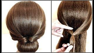 Быстрый красивый пучок для коротких волос.Подробное видео.Fast hairstyle for short hair.