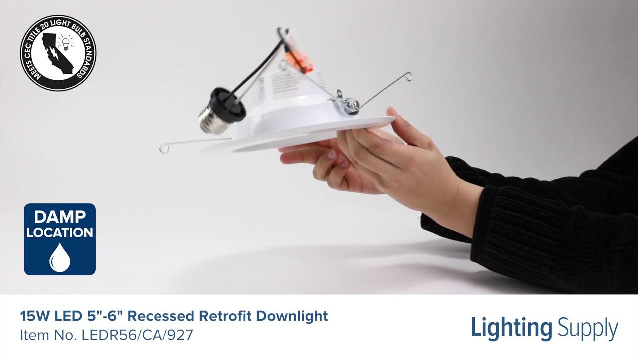 feit electric 15w led 5 6 recessed retrofit downlight ledr56 ca 927