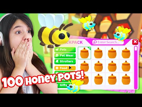 Roblox Queen Bee Adopt Me We Open 100 Honey Pots To Make Our Dream Mega Quee
