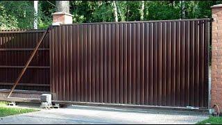 Консольные откатные ворота.(Ворота консольного типа, открывающиеся путем движения направляющей по роликовым опорам в сторону от проем..., 2015-02-14T14:37:07.000Z)