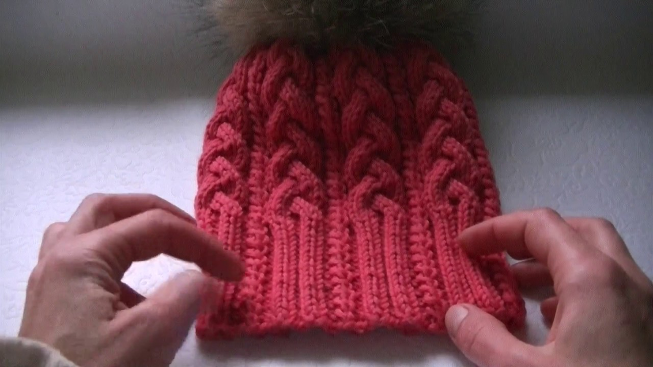 вязание шапки с косами с 9 петель Youtube