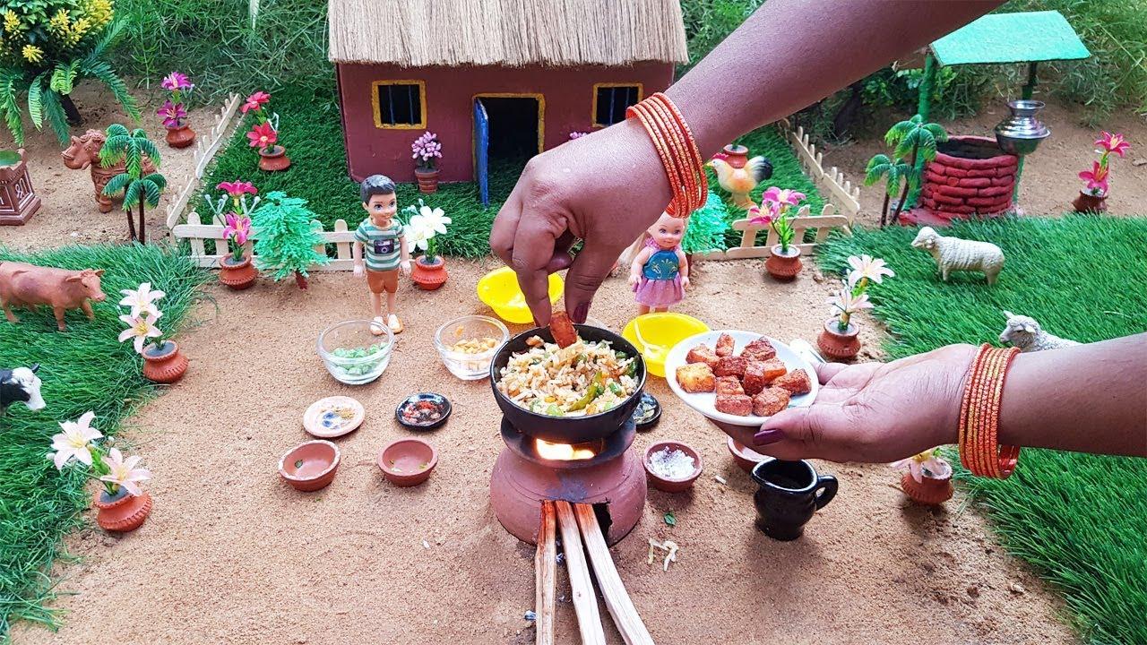 Paneer Pulao Rice Recipe   Miniature Cooking  Tiny Chutti Cooking