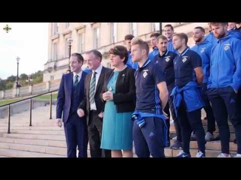 Northern Ireland team attend reception at Stormont