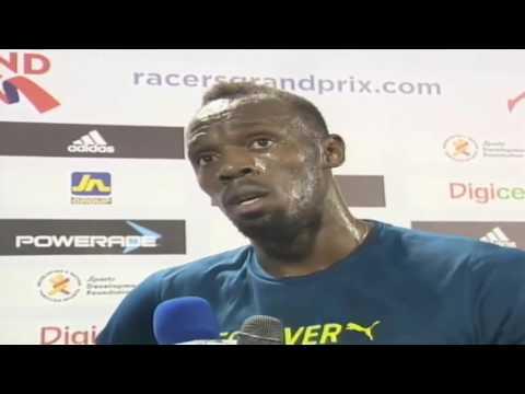 Usain Bolt's Post 100m Race Interview at Jamaica Racers Grand Prix 2016