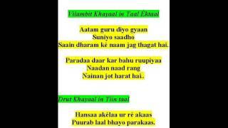 ramkrishna das sings khayaals- raga hans bihaag-aatam guru diyo gyaan, hansaa akelaa ur re akaas