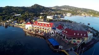 Roatan Island Honduras View from Dock and Street Walking