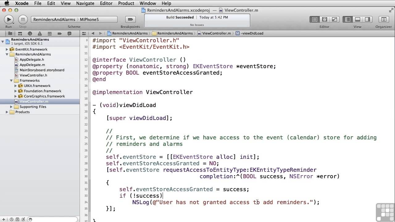 Learning To Build Apps For iPhone And iPad | Reminders And Alarms