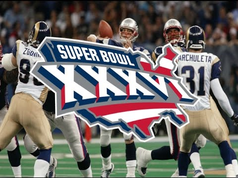 Super Bowl XXXVI: Adam Vinatieri kicks 48-yard field goal to give the Patriots their first ring.