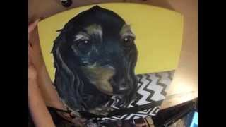 Time-lapse: Custom Pet Painting Of Long-haired Dachshund