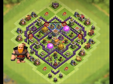 CLASH OF CLANS- TH7 FARMING BASE ANTI GIANT BEST TOWN HALL 7 DEFENSE WITH 3x AIR DEFENSES