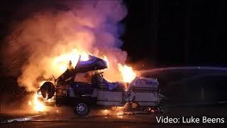 Camper brand uit bij tankstation langs A1   Hoevelaken 27 12 2017