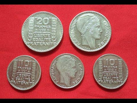 France 10-20 Silver Francs 1929-1939 (Франция 10 -20 франков Серебро 1929-1939)