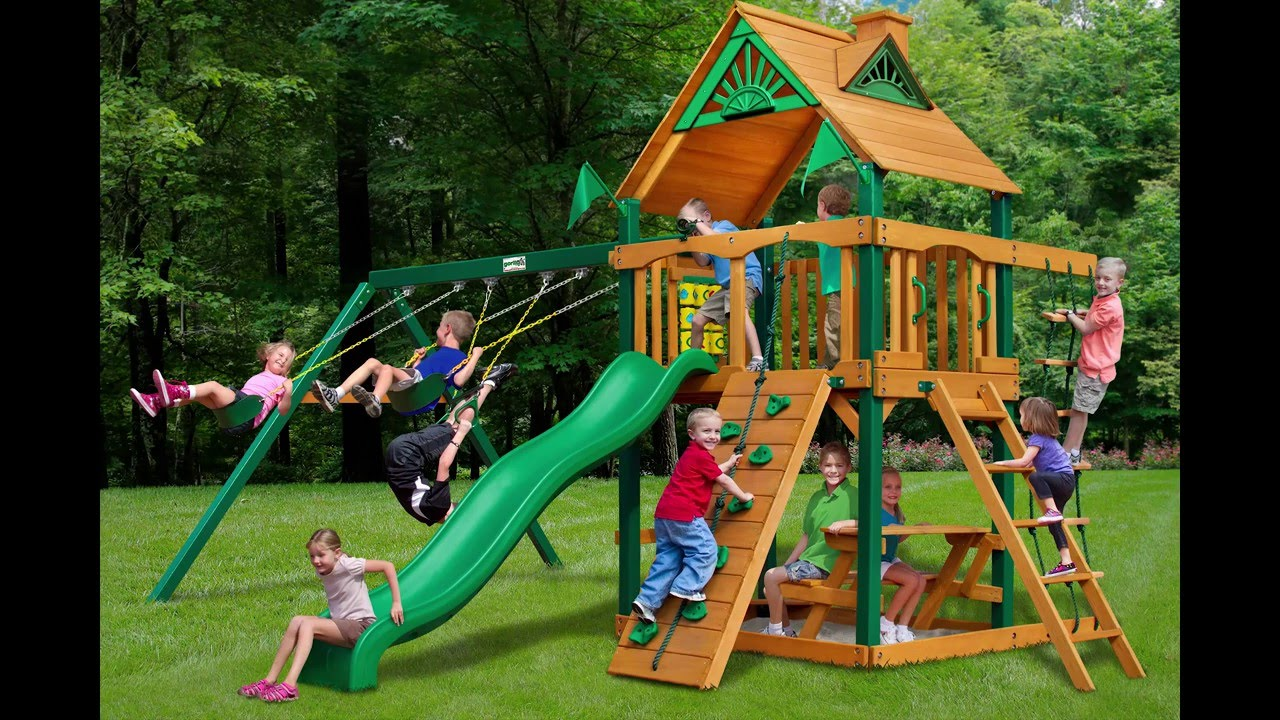 Chateau Swing Set w Timber Shield Wood Roof