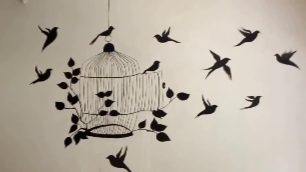 Wall Painting Designs Birds And Tree