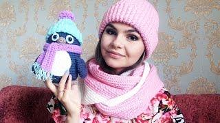 видео Вязаная шапочка-пингвинчик