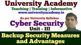 CS19: Backup Security Measures   Advantage of Data Backup Security