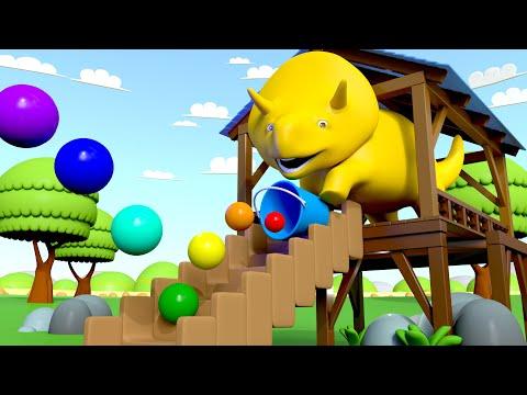 Дино скатывает мячики и учит цвета! - Изучайте вместе с Дино 👶 Обучающий мультфильм для детей