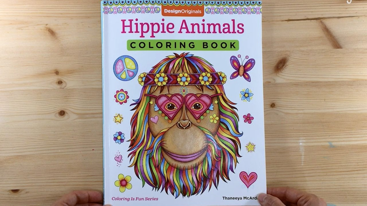 Hippie Animals Coloring Book Flip Through
