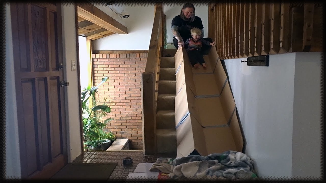 DIY Indoor Cardboard Stairs Slide! Cute Toddler Sliding Family Fun Video  For Kids