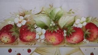 Pintura em Tecido – Aprenda Pintar Morangos, Folhas e Florzinhas