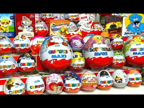 Киндер Сюрпризы,Unboxing Kinder Surprise Cars 3,Вкусномама,Robacar Poli,Маша и Медведь,Paw Patrol