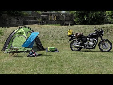 triumph-t120,-one-bag-camping!-motorcycle-camping-gear!