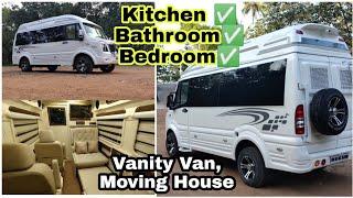 MINI HOME ON WHEEL.. CARAVAN IN 10 SEATER FORCE TRAVELLER. Vanity Van House || Amazing Facilities