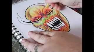 How To Draw Demonic Halloween Mask (4 of 365)