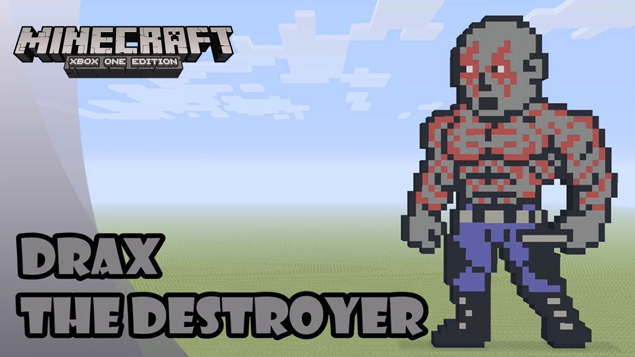 Minecraft Pixel Art Tutorial And Showcase Drax The Destroyer Guardians Of The Galaxy Vol 2