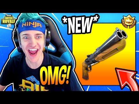 NINJA REACTS TO *NEW* DOUBLE BARREL SHOTGUN! *LEGENDARY* Fortnite SAVAGE & FUNNY Moments