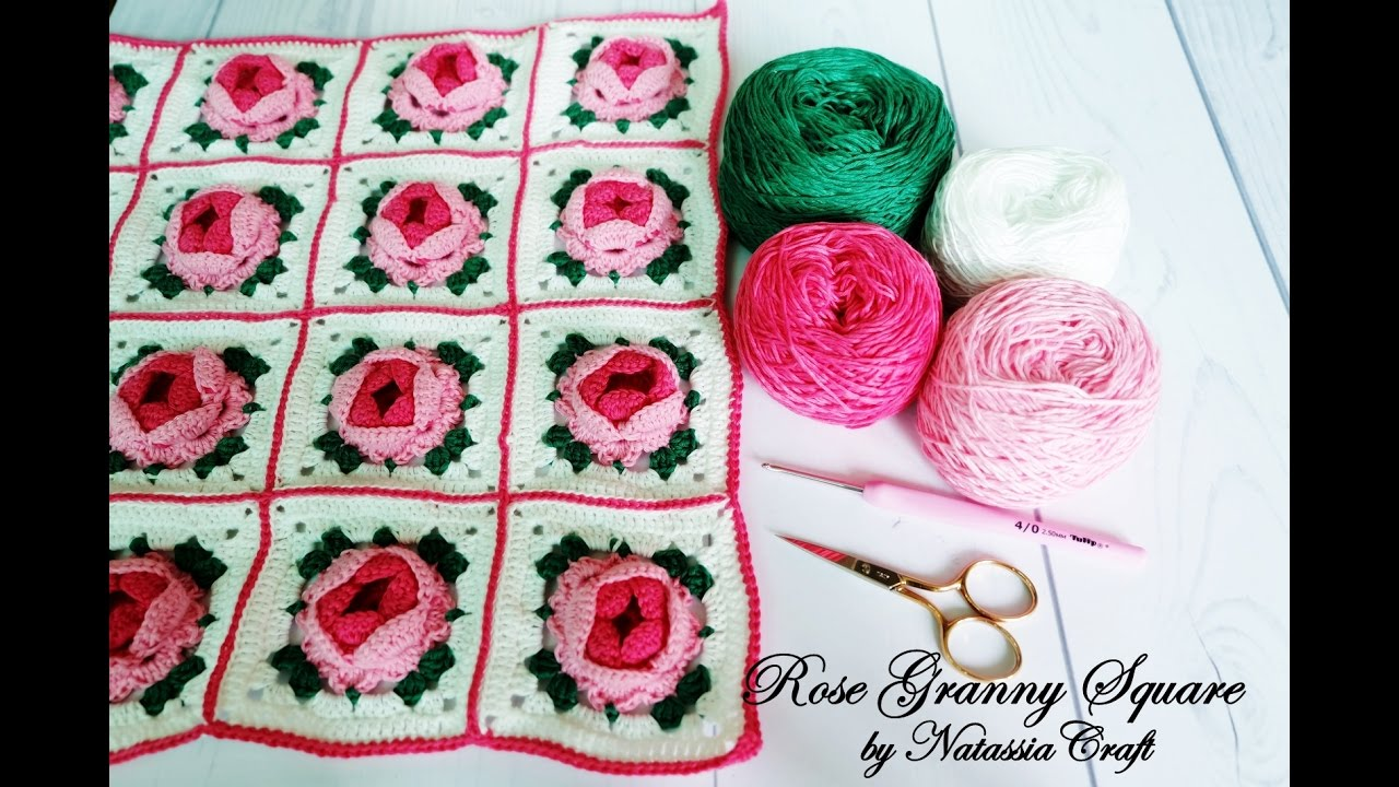 Crochet Tutorial Merajut Rose Granny Square By Natassia Craft Youtube Flower Diagram Flowers 7