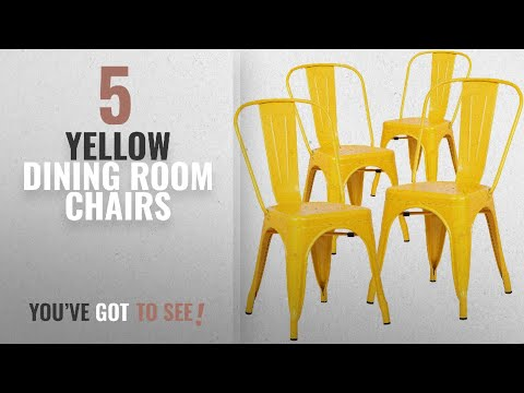 Top 10 Yellow Dining Room Chairs [2018]: Poly and Bark Trattoria Side Chair in Yellow (Set of 4)