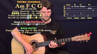 Faded (Alan Walker) Guitar Lesson Chord Chart - Capo 6th - Am F C G